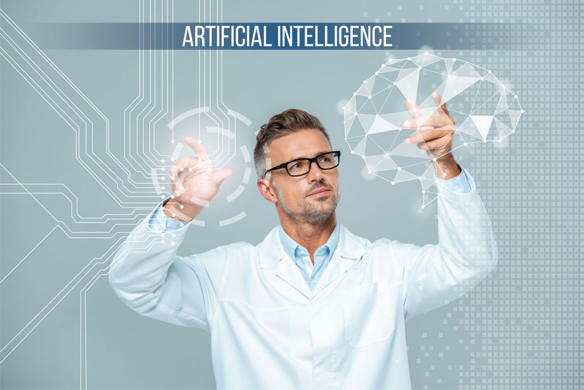 handsome scientist in white coat and glasses moving brain interface, cut cost in clinical trials concept