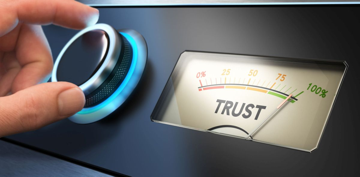 a meter imprinted with the word trust